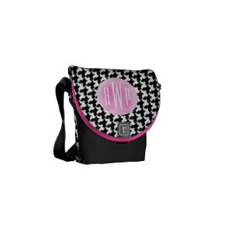 Monogrammed Houndstooth + Pink Watercolor Messenger Bags