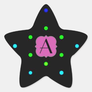 Monogrammed I LOVE polka dots colors on black back Star Stickers