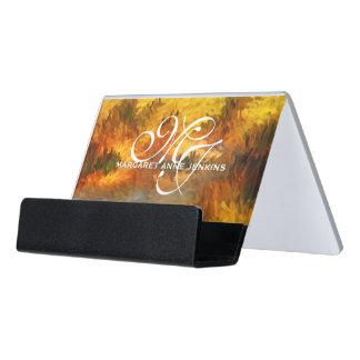 Monogrammed Impressionistic Golden Hues Desk Business Card Holder