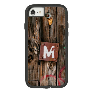 Monogrammed Industrial Rustic Wood Pattern Case-Mate Tough Extreme iPhone 8/7 Case