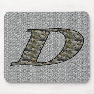 Monogrammed Initial D Hydrangea Floral Mousepad