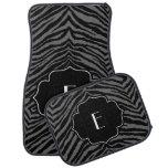 Monogrammed Initial Dark Grey Black Zebra Print