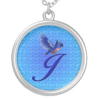 Monogrammed Initial J Bluebird Design Necklace