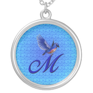Monogrammed Initial M Bluebird Design Necklace