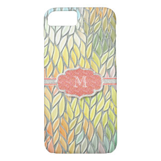 Monogrammed Initial Mosiac Glass look w Glitter iPhone 7 Case