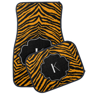 Monogrammed Initial Orange Black Tiger Stripe Car Mat