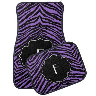 Monogrammed Initial Purple Black Zebra Print Car Mat