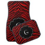 Monogrammed Initial Red Black Zebra Print