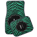 Monogrammed Initial Teal Green Black Zebra Print