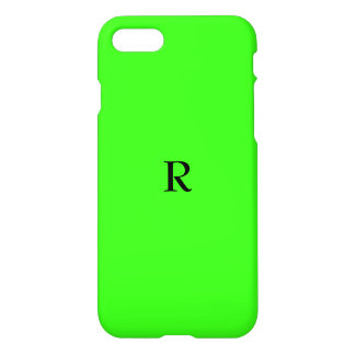 Monogrammed Initials Fluorescent Neon Green iPhone 8/7 Case