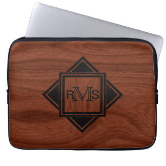 Monogrammed Initials | Mahogany Wood Grain Pattern Laptop Sleeve