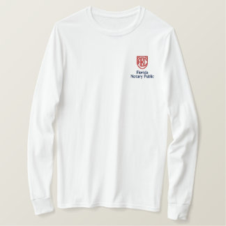 Monogrammed Initials Notary Public Florida Embroidered Long Sleeve T-Shirt