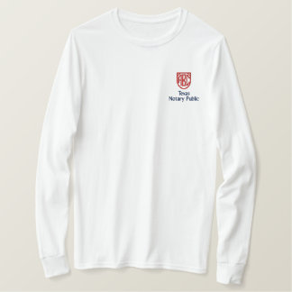 Monogrammed Initials Notary Public Texas Embroidered Long Sleeve T-Shirt