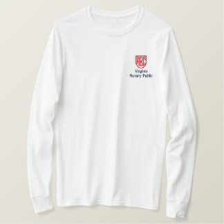 Monogrammed Initials Notary Public Virginia State Embroidered Long Sleeve T-Shirt
