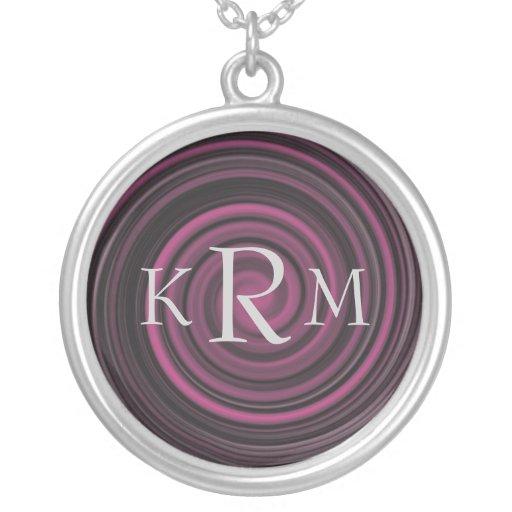 Monogrammed Initials Plum Swirls Necklace