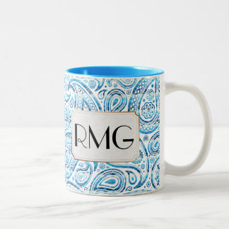 "Monogrammed Initials ""Under The Sea"" Blue Paisley Two-Tone Coffee Mug"