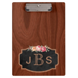 Monogrammed Initials Vintage Roses Wood Rose Gold Clipboard