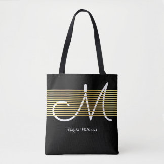 monogrammed interlaced faux gold lines tote bag