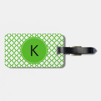 Monogrammed Kelly Green Quatrefoil Pattern Luggage Tag