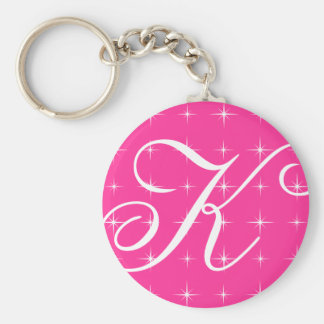 Monogrammed keychain with sparkling star design