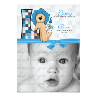 "Monogrammed ""L"" Blue Lion Birth Announcement"