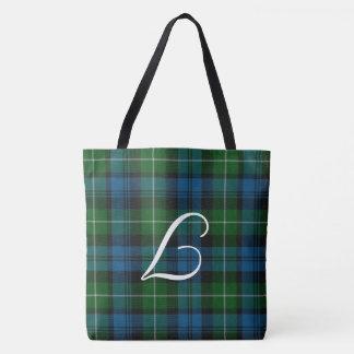 Monogrammed Lamont Tartan Plaid Tote Bag