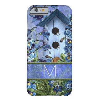 Monogrammed Larkspur Garden with Birdhouse Barely There iPhone 6 Case