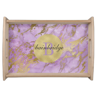 Monogrammed Lavender/Gold Marble Tray