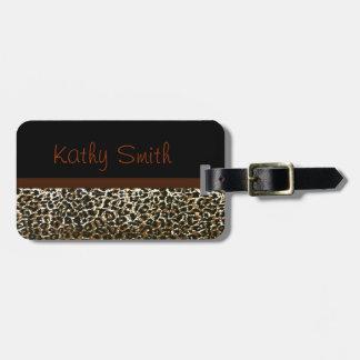 Monogrammed Leopard print bag tag