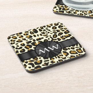 Monogrammed leopard print beverage coaster
