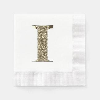 Monogrammed Letter Initial I Gold Sparkles Elegant Disposable Napkin
