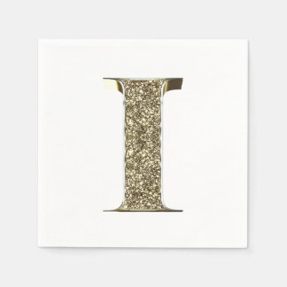 Monogrammed Letter Initial I Gold Sparkles Elegant Disposable Napkins