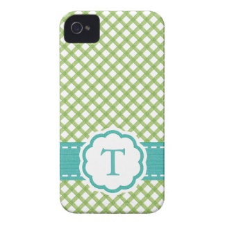 Monogrammed Lime Green and Aqua iPhone 4 Covers