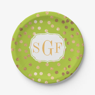 Monogrammed Lime Green and Gold Glitter Dots 7 Inch Paper Plate