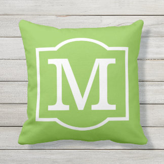 Monogrammed | Lime Green and White Outdoor Cushion