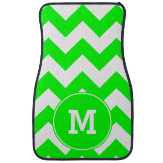 Monogrammed Lime Zigzag Pattern Car Mat