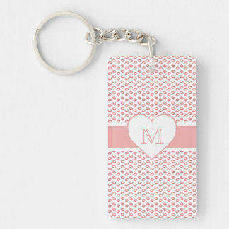 Monogrammed Lipstick Kisses Double-Sided Rectangular Acrylic Key Ring