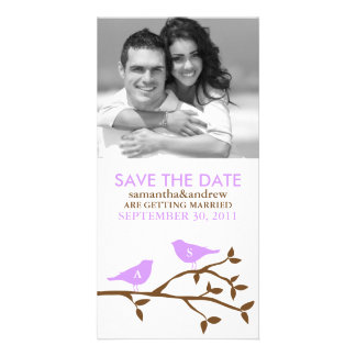 Monogrammed Love Birds Save the Date Photo Greeting Card
