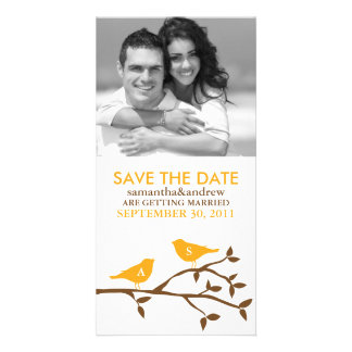 Monogrammed Love Birds Save the Date Personalised Photo Card