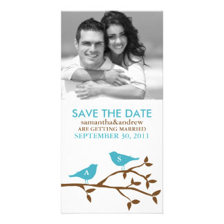 Monogrammed Love Birds Save the Date Photocards Customised Photo Card