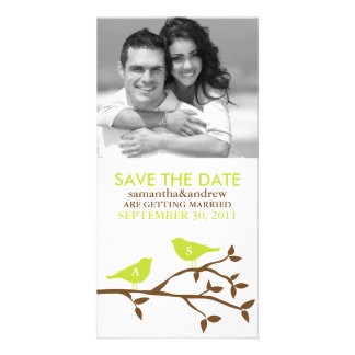 Monogrammed Love Birds Save the Date Photocards Personalised Photo Card