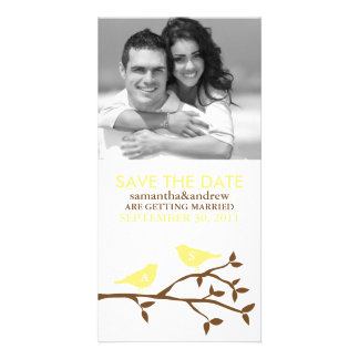 Monogrammed Love Birds Save the Date Photocards Photo Card Template