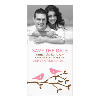 Monogrammed Love Birds Save the Date Photocards Photo Greeting Card
