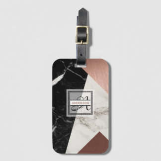 Monogrammed Luggage Tag Marble Rose Gold Geometric