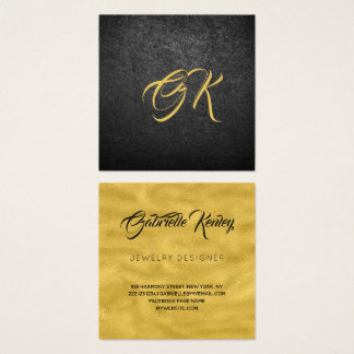 Monogrammed luxury black leather gold metallic square business card
