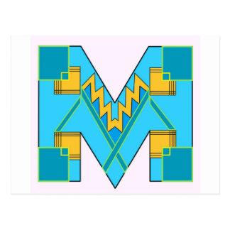 Monogrammed M Art Deco Post Card