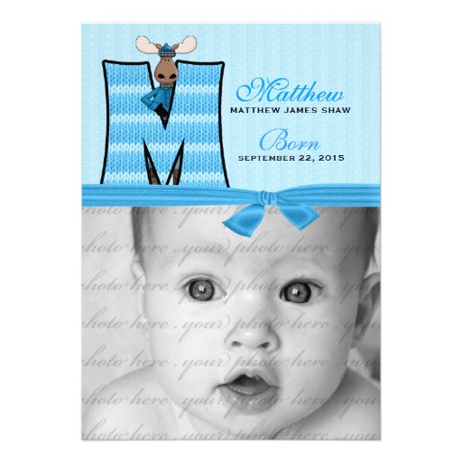 "Monogrammed ""M"" Blue Moose Birth Announcement"