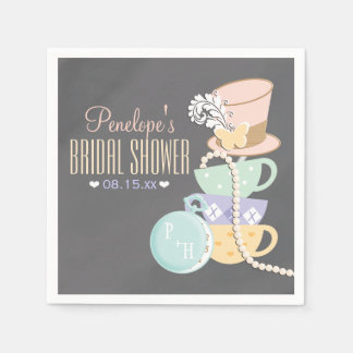 Monogrammed Mad Hatter Bridal Shower Paper Napkin