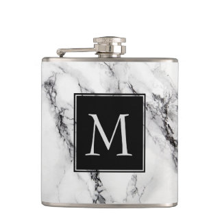 Monogrammed Marble Stone Pattern Flask