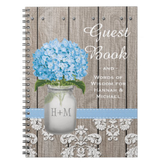 Monogrammed Mason Jar Blue Hydrangea Guest Book Notebooks